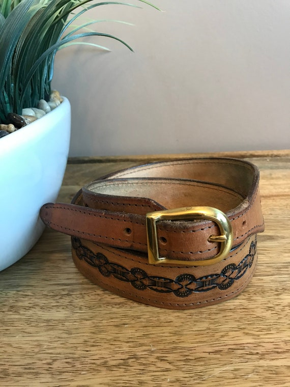 Vintage Tooled Leather Belt Southwestern Style Bro