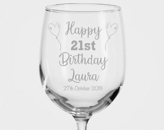 21st Birthday Gift Wine Glass For Her Personalised Custom