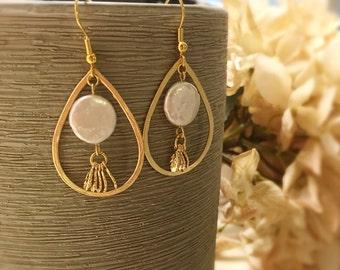 Gold teardrop earrings gold dangle earrings pearl earrings leaves earrings