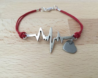 Heartbeat bracelet red cord bracelet EKG bracelet heart survivor bracelet gift for her gift for him