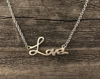 Matte silver love necklace