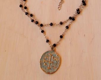 Beaded rosary chain cross choker necklace