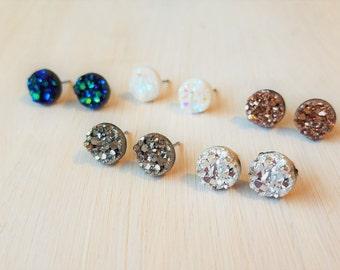 Druzy stud earrings- rose gold druzy earrings, blue druzy earring, silver druzy earrings, white druzy earrings