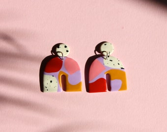 POME | Polymer Clay Geometric Statement Colour Earrings