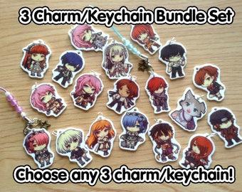 3 Charm bundle, 3 Keychain Bundle, anime keychain, video game keychain, anime charm, video game charm, phone strap, keychain set, charm set