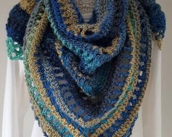 Summer Shawl, Crochet shawl, triangle scarf