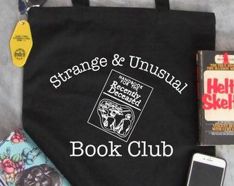 Strange and Unusual Book Club - Beetlejuice - reusable grocery bag - horror - October -halloween - Adult - Tote