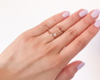 Double Crystal Rose Gold Ring