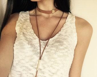 Suede multi strand choker necklace burgundy choker tan choker