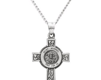 3a21f3dc16e Sterling Silver St Michael Cross Pendant with 24