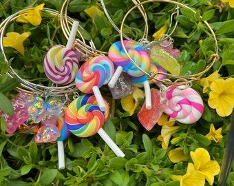 Silver charm bracelet||Bangle charms||bangle set|| lollipop
