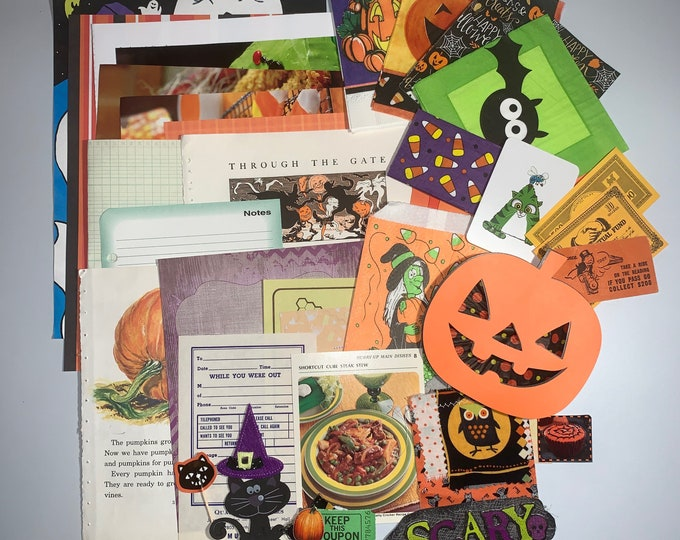 pc selection of Decorative papers with a Fabric Flip Halloween themed Junk Journal Papers and Napkins Pack 40