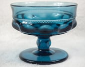 Indiana Glass Kings Crown Blue Carnival Footed Compote Candy Sherbet Dish