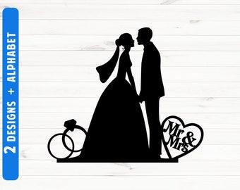 Wedding silhouette etsy wedding silhouette cake topper weddong silhouette clipart wedding svg files wedding scg fonts cut files junglespirit Gallery