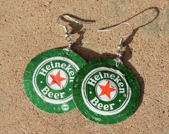 Heineken Bottle Cap Earrings