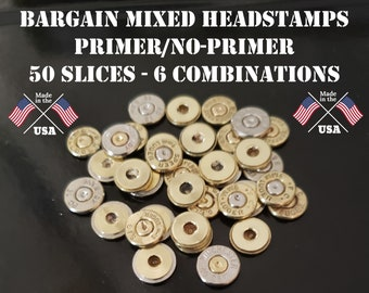 Bullet Heads Bullet Ends 357 Ammo Bullet Jewelry Second Amendment 2A Bullet Supplies 10 Pieces Bullet Slices Brass Bullet Slices