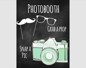 Instant Download: Printable Chalkboard Wedding Photobooth Sign