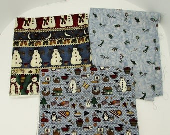 Debbie Mumm fabrics in blue, 3 cotton winter prints with snowmen & seasonal motifs, quilting cotton fabric stash, craft fabric, Mumm oop