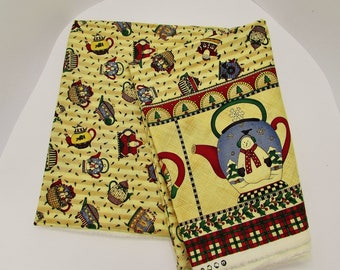 Debbie Mumm Christmas teapots border fabric, 2+ yds quilting cotton, out of print whimsical teapot print, fabric stash, craft fabric