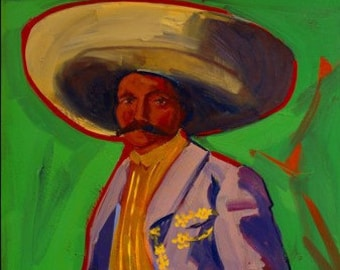 Emiliano, Original Oil Painting, Mexican History, Wall Art, Mexican Decor, Revolutionary Hero, Mexican Decor, Mexican Revolution