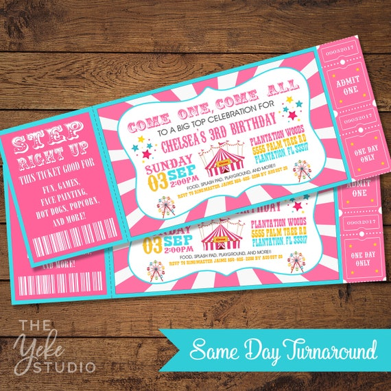 Pink Vintage Circus Carnival Invitation