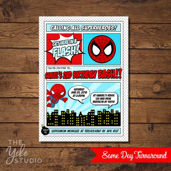 Spiderman Invitation Spiderman Birthday Party Superhero