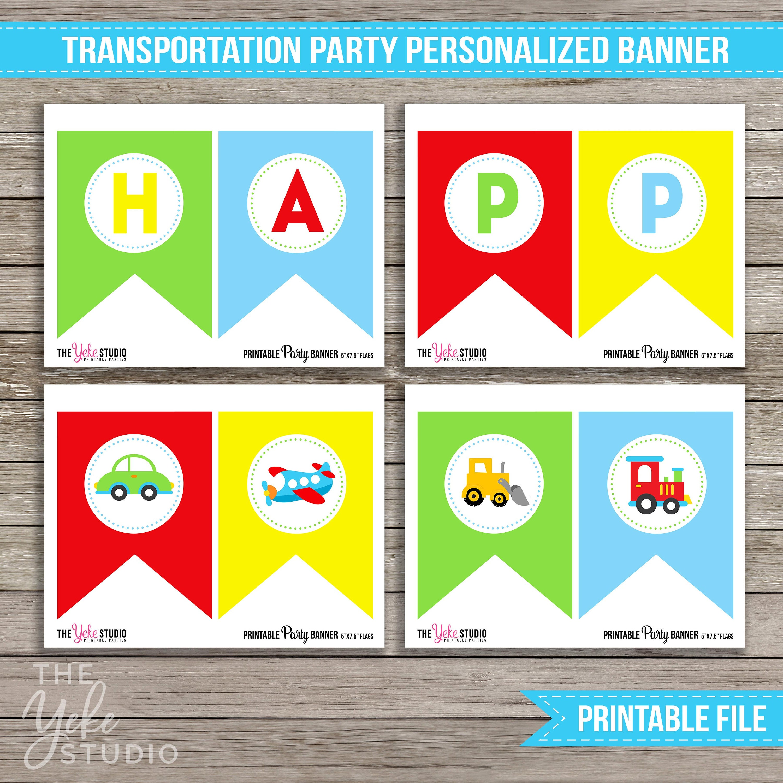 Transportation Birthday Banner Transportation Birthday