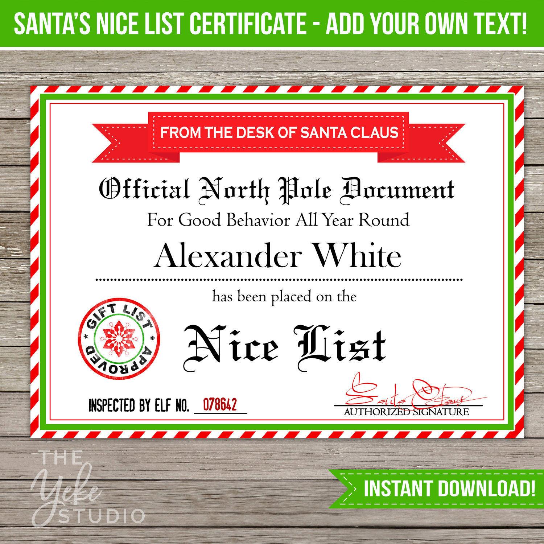 Nice List Certificate Santa Letter Christmas Gift Tags Santa Certificate Naughty Or Nice List Editable Pdf Diy Printable