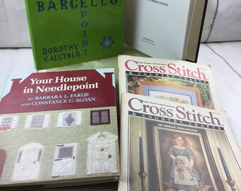 Cross stitch and needlepoint book set, Better Homes and Gardens Cross Stitch Magazine, Vintage Cross Stitch Books, Vintage Needlepoint Books
