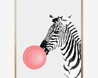 Zebra Print, Zebra Decor, Nursery Animal Wall Art, Kids Room Printable Instant Digital Download, Pink Bubble Gum, Modern Minimalist 16x20