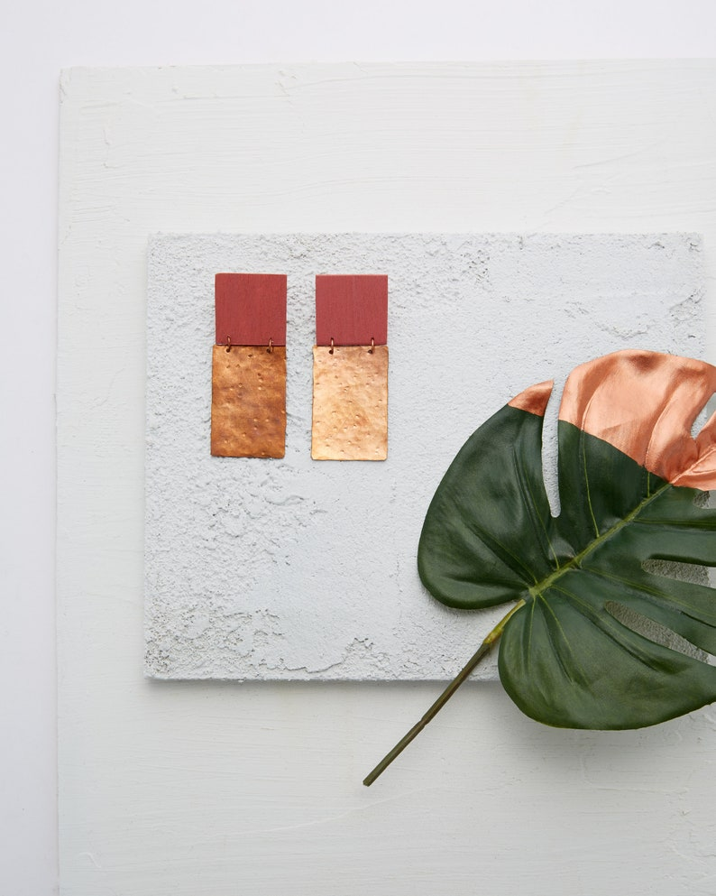 Blush Square and Copper Earrings image 0