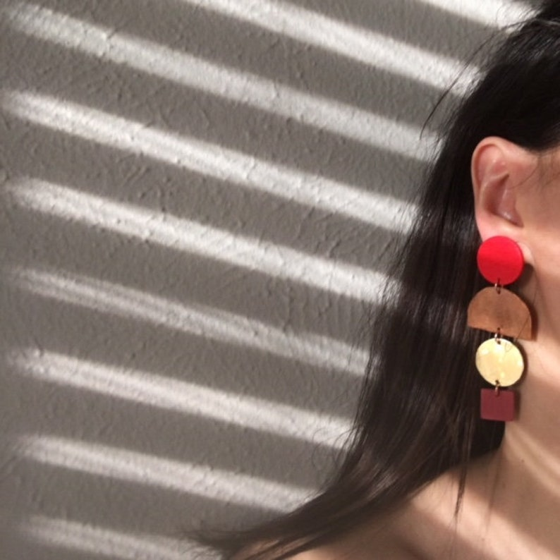 Poppy red and Metal Mix Earrings image 0