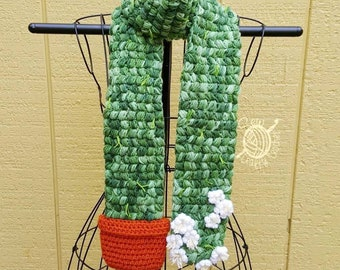 Crochet Flowering Cactus Scarf [Seen on Fuller House][Ready to Ship]