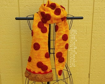 Crochet Pepperoni Pizza Scarf [Ready to Ship]