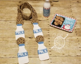Crochet Chocolate Chip Cookies and Milk Scarf