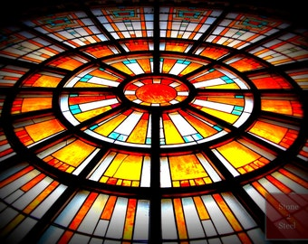 Stained Glass Window Photograph, Union Station Indianapolis, Oculus Window, Arts and Crafts Window, Sun in the Window, Old Circular Windows