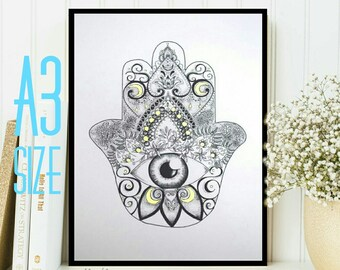 A3 Hamsa Hand of Fatima Dotwork Drawing with Gold Detail Art Print