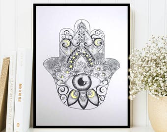 Framed Hamsa Hand of Fatima Dotwork Drawing with Gold Detail Art Print