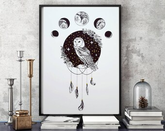 Framed Owl of Many Moons Bohemian Dotwork Drawing with Gold Detail Art Print