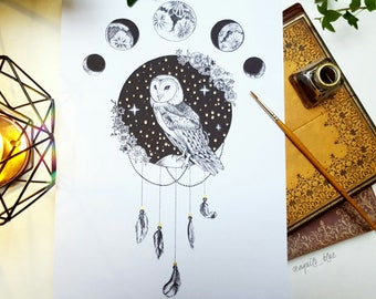 A4 Bohemian Owl of many Moons Drawing with Gold Detail Art Print