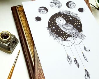 A5 Bohemian Owl of many Moons Drawing with Gold Detail Art Print