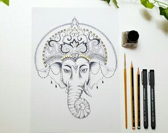 A4 Ganesha / Ganesh Dotwork Drawing with Gold Detail Art Print