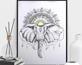 Framed Bohemian Elephant Dotwork Drawing with Gold Mandala Art Print