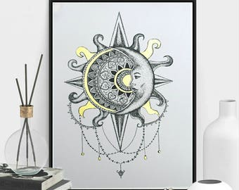 Framed Bohemian Sun and Moon Celestial Dotwork Drawing with Gold Mandala A4 Art Print