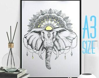 A3 Bohemian Elephant Dotwork Drawing with Gold Mandala Art Print