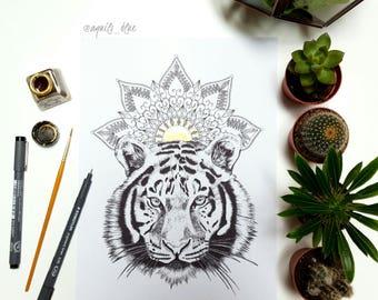 A5 Bohemian Tiger Drawing with Gold Mandala Art Print