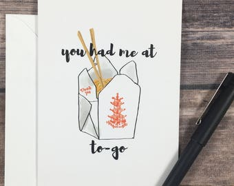 you had me at hello card - romance card - anniversary card - funny love card - foodie lovers card - chinese food card - fast food card - pun