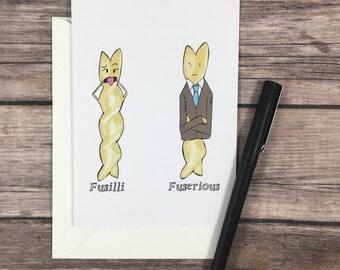 Fusilli - pasta card - grappige bday kaart - kaart - card foodie - verjaardagskaart voor chef-kok - woordspeling kaart - grap card - Italiaanse kaart - dom kaart