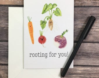vegetable card - root vegetable card - encouragement card - inspiration card - hang in there card - motivational card - rooting for you card