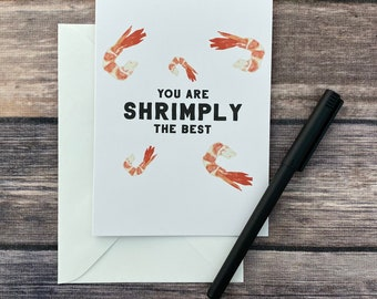 Funny Love You Shrimp Pun Card - Birthday card - Valentine's day card - thank you card - thinking of you - best friend coworker boyfriend